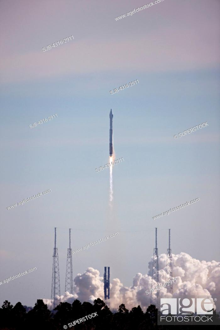 Stock Photo: The Atlas V 401 vehicle lifts off from Cape Canaveral Air Force Station carrying the Solar Dynamics Observatory on February 11, 2010.