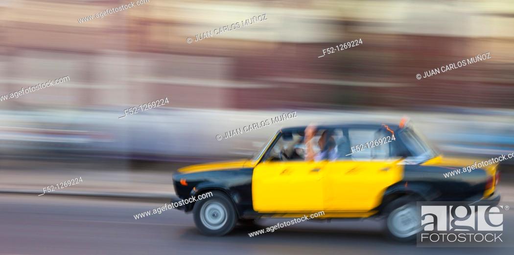 Stock Photo: Taxis in the City of Alexandria, Egypt, Mediterranean Sea.