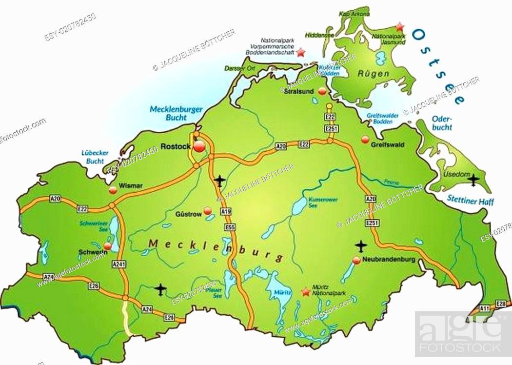 Stock Vector: Karte von Mecklenburg-Vorpommern mit Verkehrsnetz in Grün.