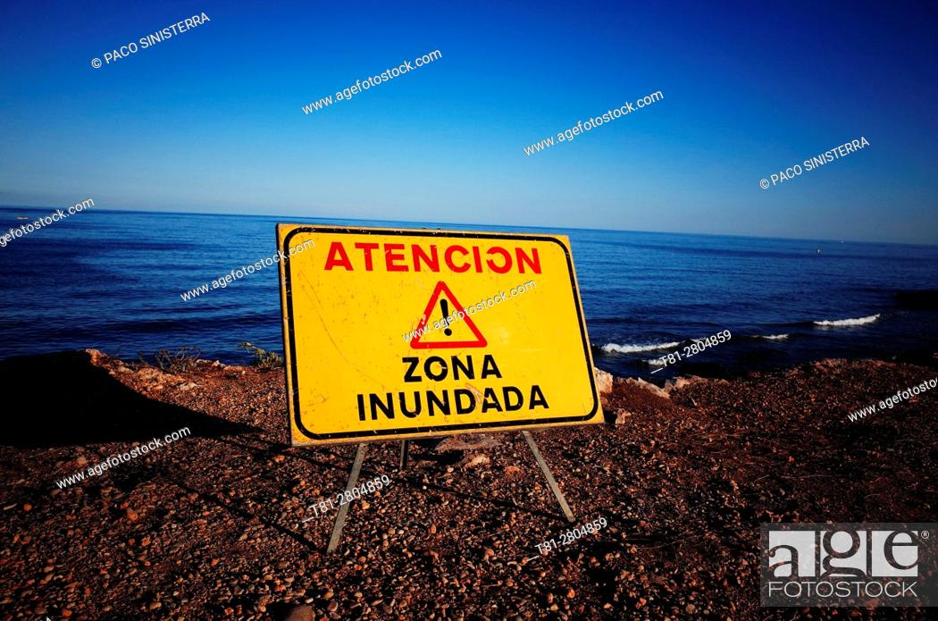 Stock Photo: warning signs by the sea, Beach, Alcocebre, Castellon.