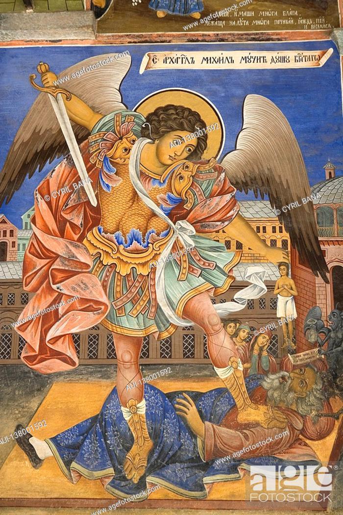 Stock Photo: Bulgaria - South West - Rila Monastery - UNESCO World Heritage Site - Murals.