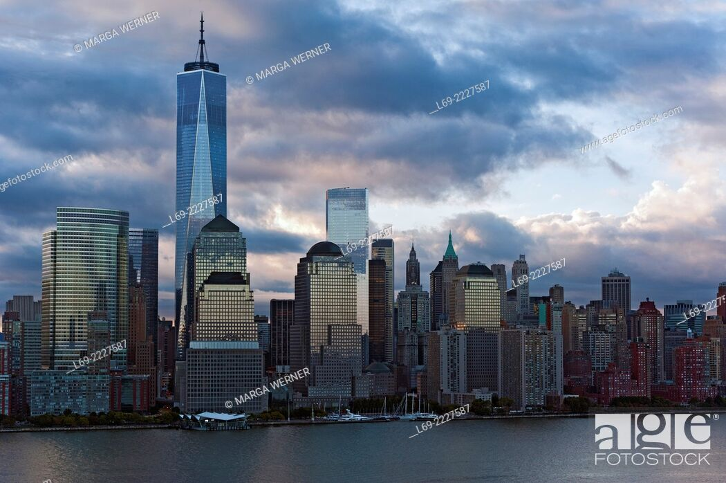 Stock Photo: Lower Manhattan Skyline in early morning light with World Trade Center and World Financial Center at Hudson River, New York City, USA.