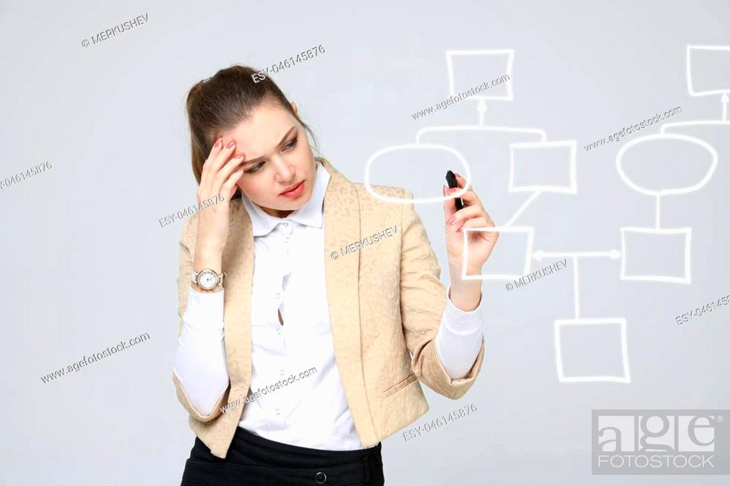 Photo de stock: Businesswoman drawing flowchart, business process concept on grey background.