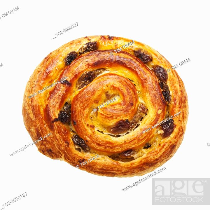 Stock Photo: A Pain aux raisin pastry on a white background.