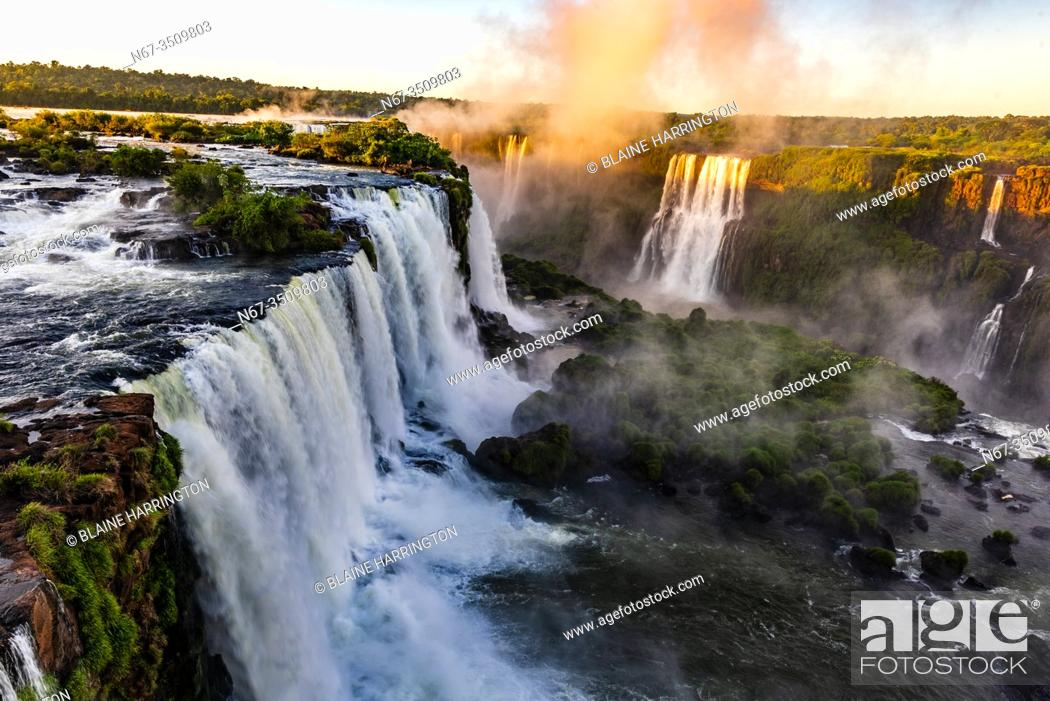 Stock Photo: Iguazu Falls (Iguacu in Portugese), on the border of Brazil and Argentina. It is one of the New 7 Wonders of Nature and is a UNESCO World Heritage Site.