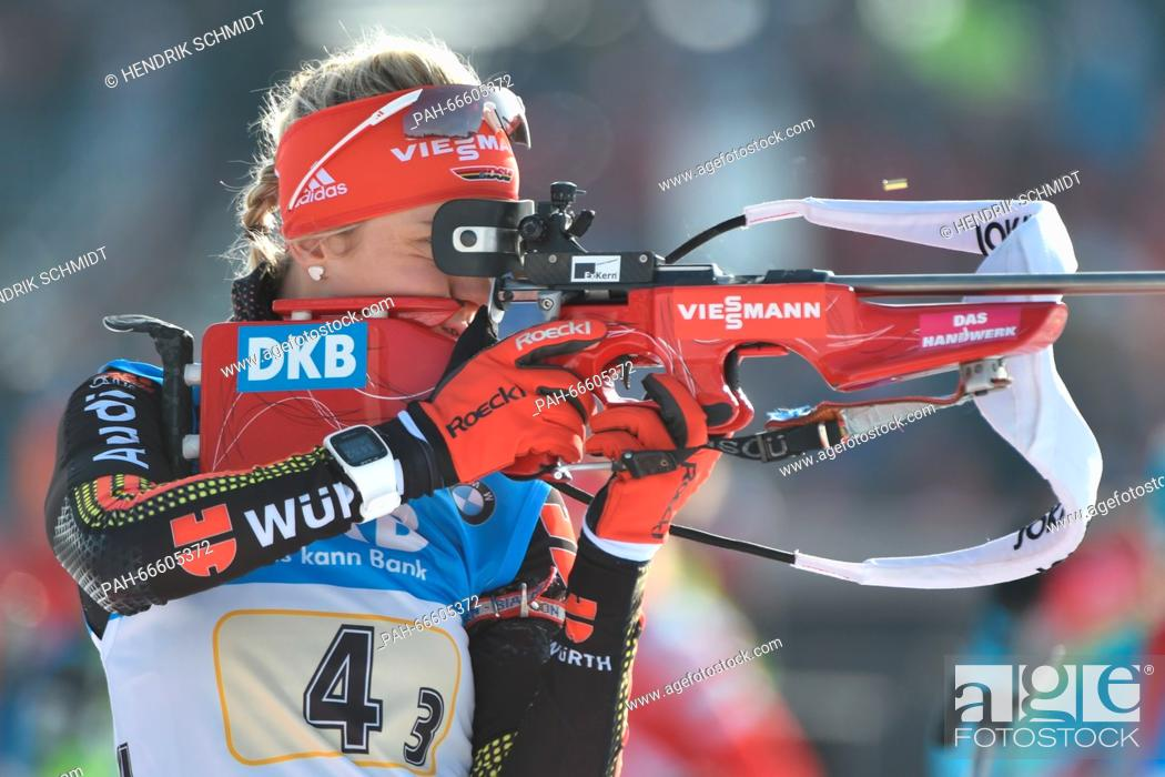 Stock Photo: German Maren Hammerschmidt at the shooting range before the women 4x6 km Relay competition at the Biathlon World Championships, in the Holmenkollen Ski Arena.