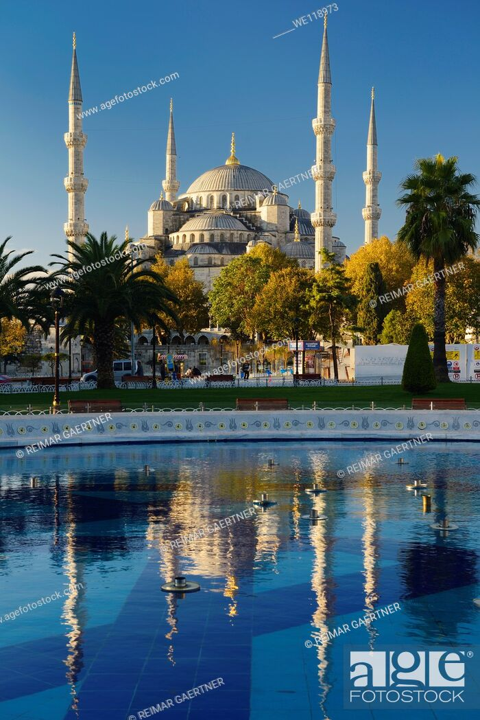 Stock Photo: Blue Mosque in early morning sun with reflection in pool Istanbul Turkey.