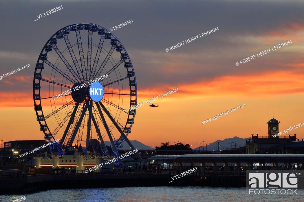 Stock Photo: Hong Kong observation wheel, Victoria harbor, Hong Kong, China.