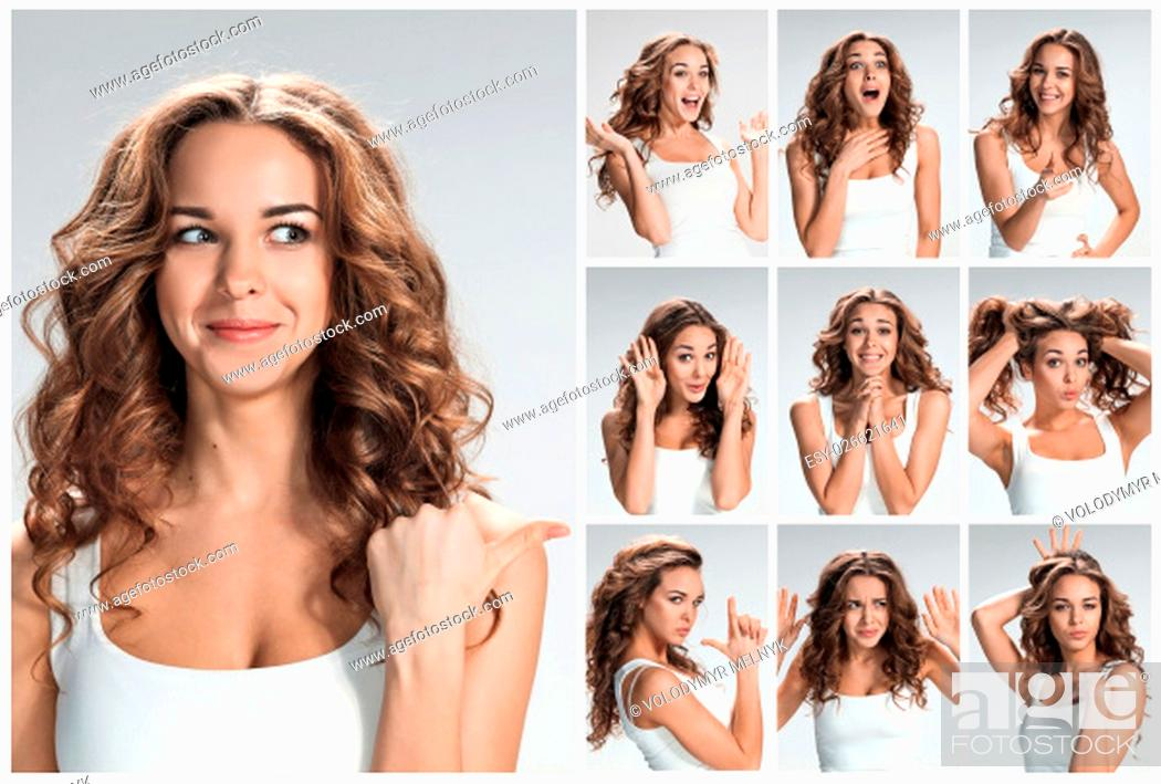 Stock Photo: Set of young woman's portraits with different happy emotions on gray background.