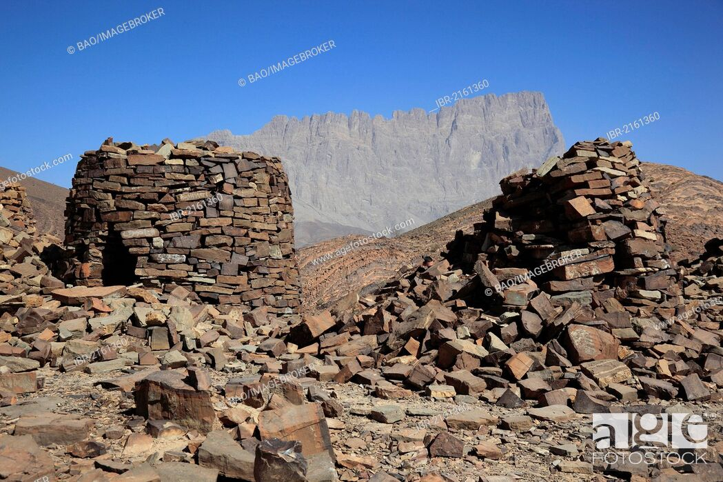 Stock Photo: The Beehive Tombs of Al-Ayn on the edge of Jebel Misht mountain ridge, in the area between the towns of Bat and Al-Ayn in the Hajar Mountains.