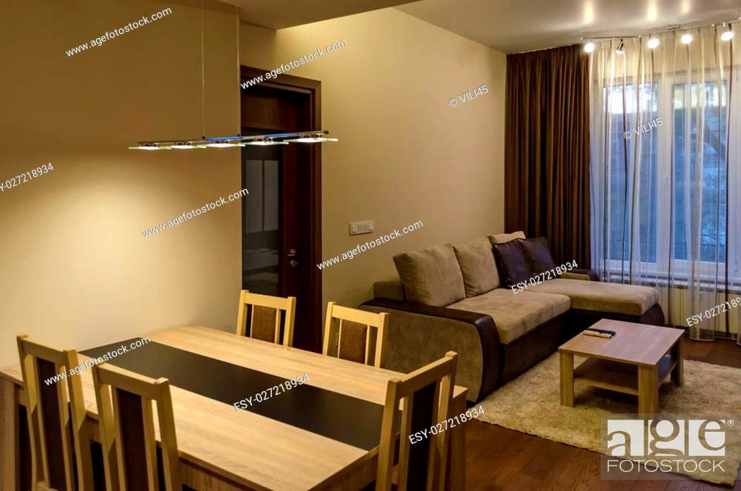 Living Room And Dining Table In Renovated Apartment With Modern Led Lighting Sofia Bulgaria Stock Photo Picture And Low Budget Royalty Free Image Pic Esy 027218934 Agefotostock