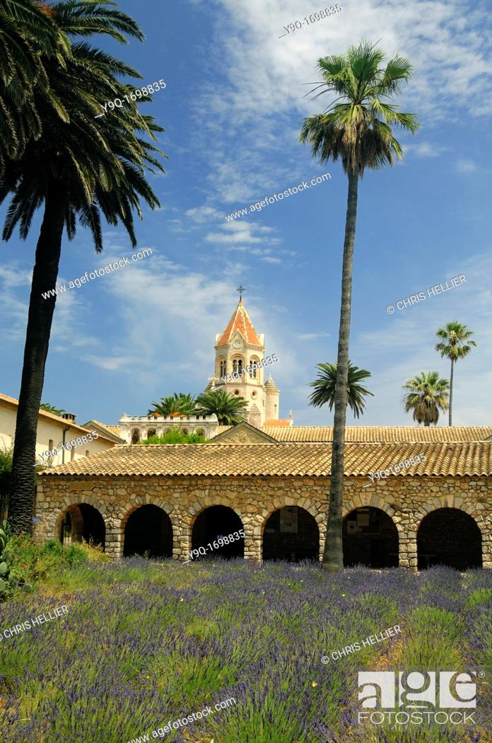 Stock Photo: Lérins Abbey or Monastery Île Saint Honorat Island off Coast of Cannes French Riviera Côte-d'Azur France.