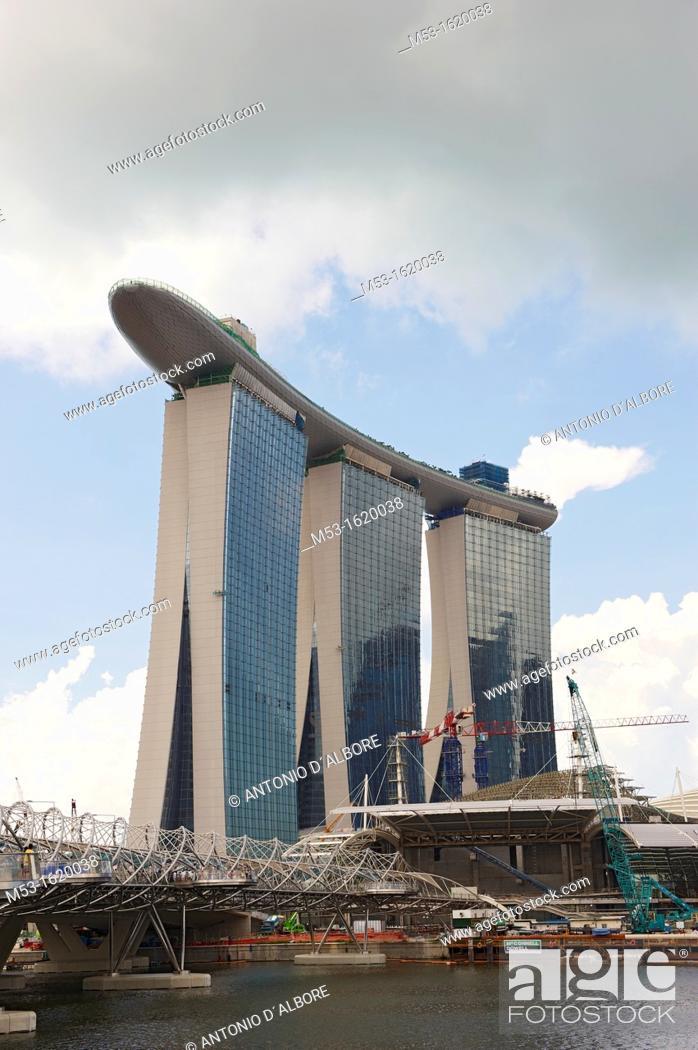 Stock Photo: Marina Bay Sands Integrated Resort seen from Marina Bay waterfront  Singapore.