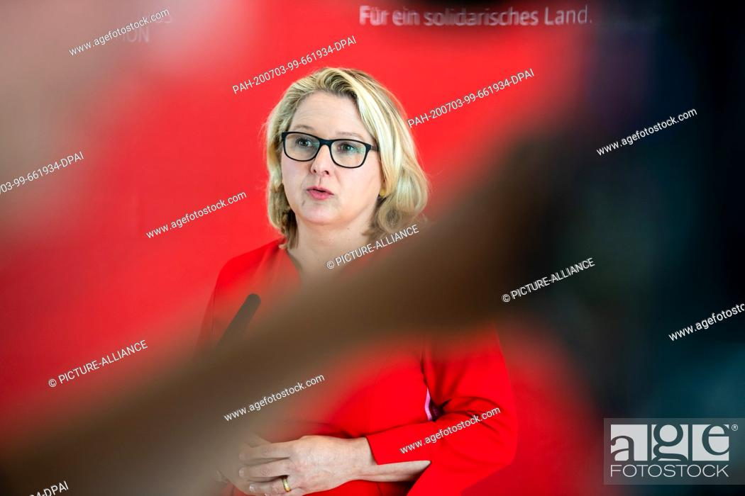 Stock Photo: 03 July 2020, Berlin: Svenja Schulze (SPD), Federal Environment Minister, speaks to media representatives on the sidelines of the plenary session in the German.
