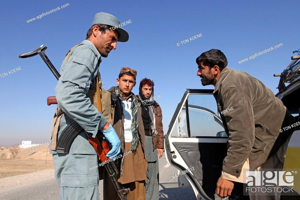 Stock Photo: Afghan police being trained by Dutch military in Kunduz, Afghanistan.