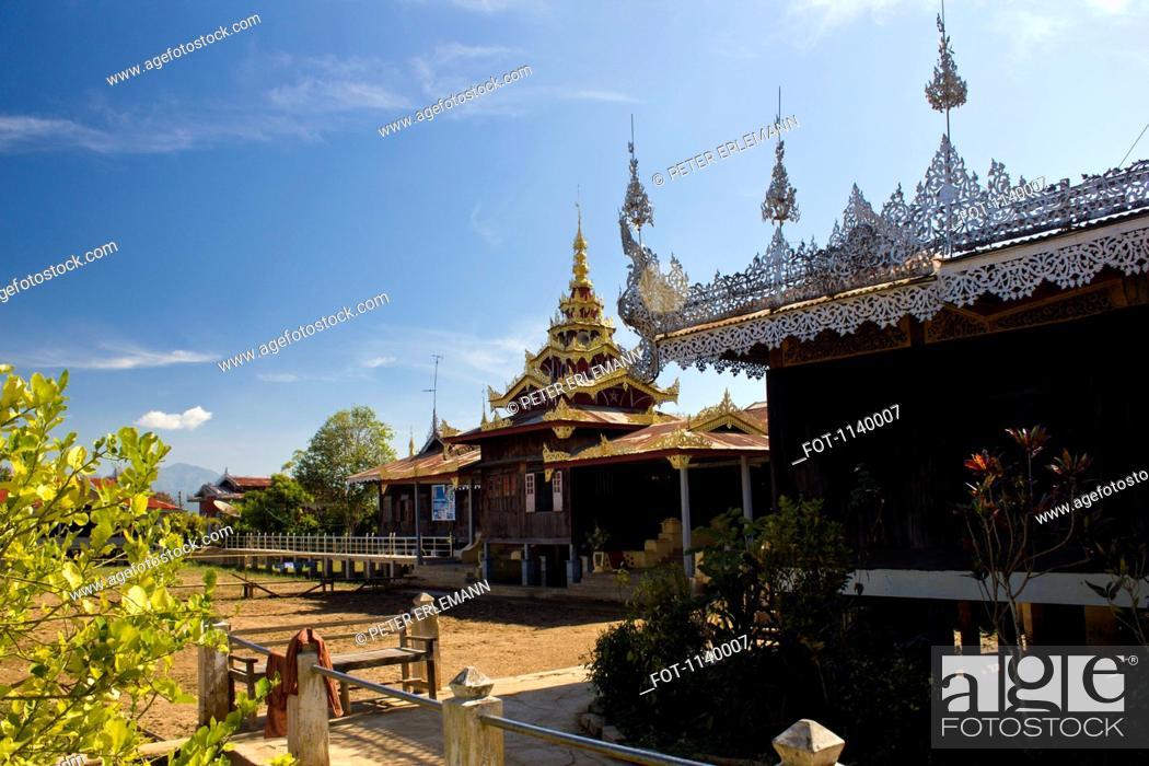 Stock Photo: A monastery in Inle Lake, Burma.