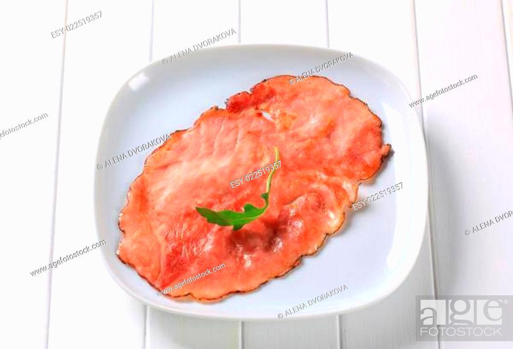 Stock Photo: Pan fried slice of smoked ham.
