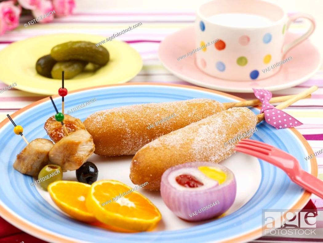 Stock Photo: saucer, plate, cup, milk, garnish, flower, dish.