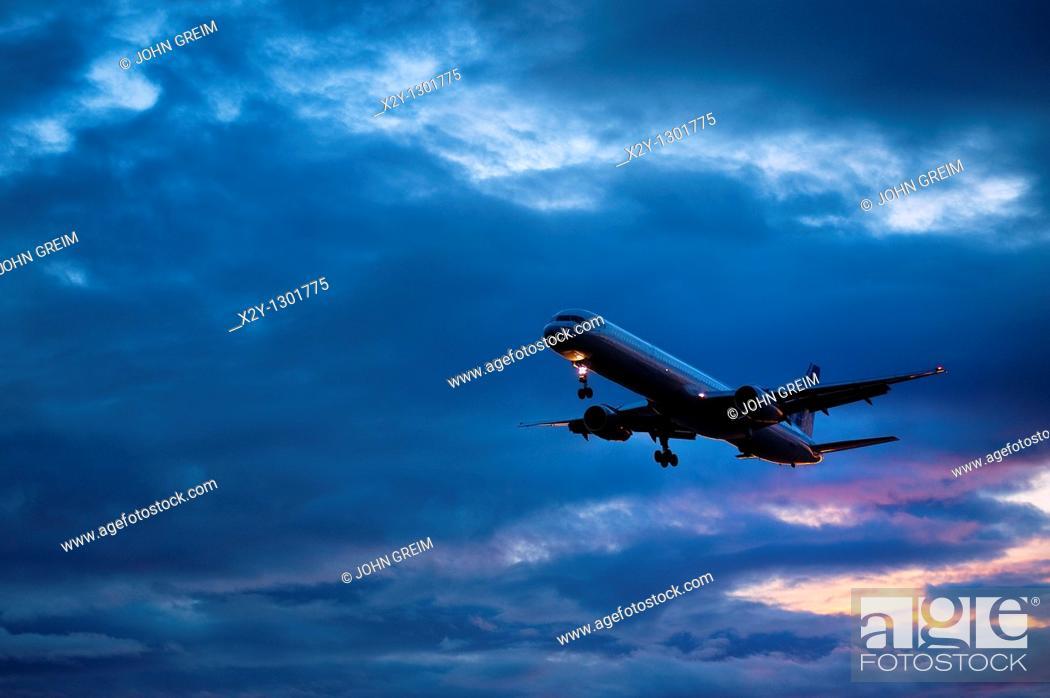 Stock Photo: Jet airplane in flight.