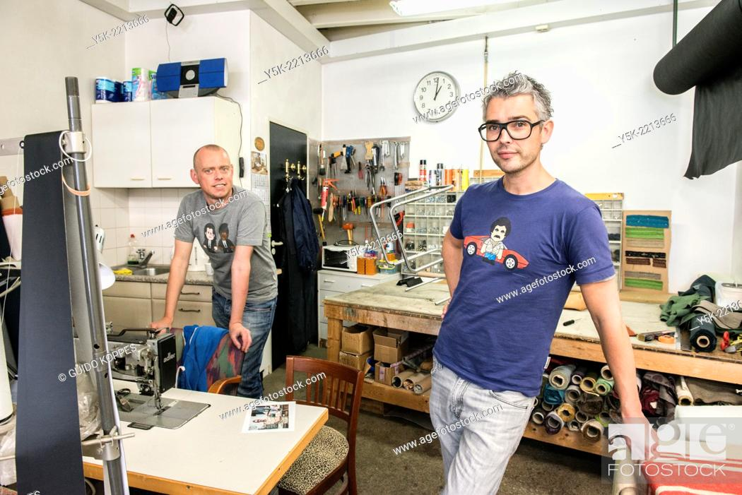 Stock Photo: Tilburg, Netherlands. Josef works as an independent upholsterer in his own workshop, down town Tilburg, where he refurbishes and upholsters all kinds of chairs.