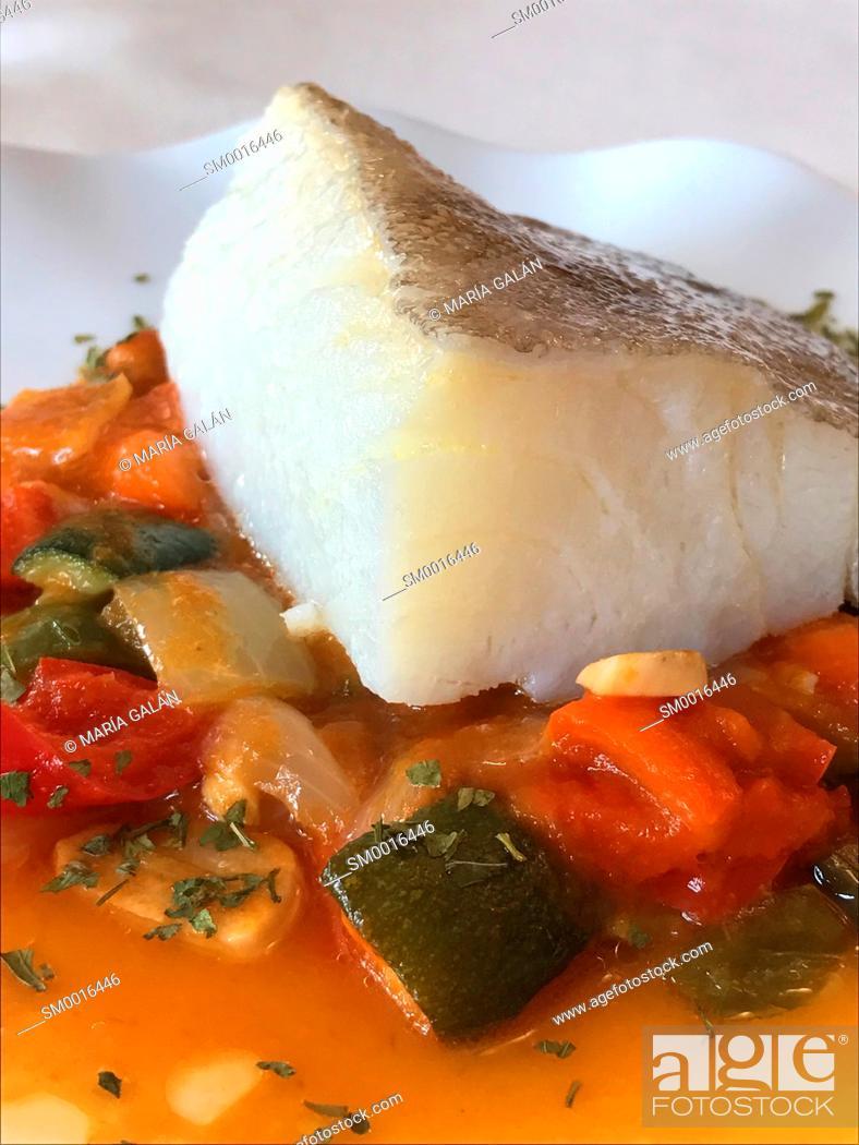 Stock Photo: Cod loin with pisto. Spain.