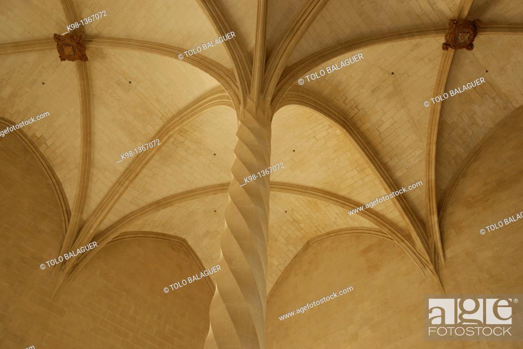 Stock Photo: The spirally fluted columns Llotja, XV century Palma Mallorca Balearic Islands Spain.
