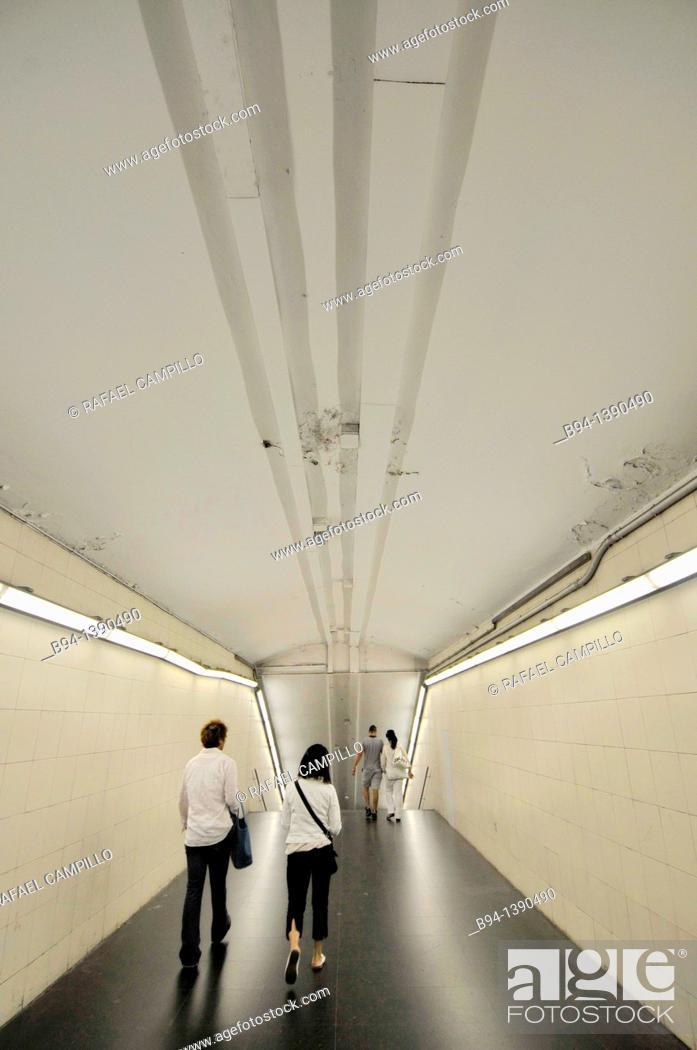 Stock Photo: Subway station. Barcelona. Catalonia. Spain.