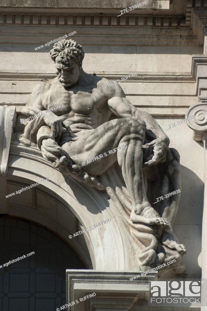 Stock Photo: Sculpture on façade of Angelo Mai Civic Library (Biblioteca Civica Angelo Mai), Palazzo Nuovo di Bergamo. Piazza Vecchia (Old Square), Upper Town (Città Alta).