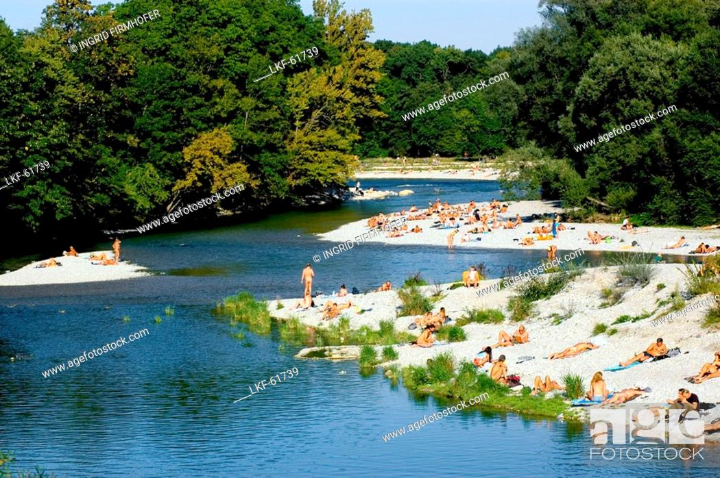 Stock Photo: Nude Gay Beach Area at Flaucher at the River Isar, leisure, Munich, Bavaria, Germany, Isar, Isarufer, Badegaeste, baden in der Isar, Isarauen, Flaucher.