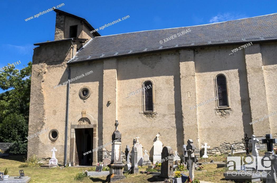 Stock Photo: Church of saint Gordien, Saint-Paul-d'Oueil, Haute Garonne department, Occitanie, France.
