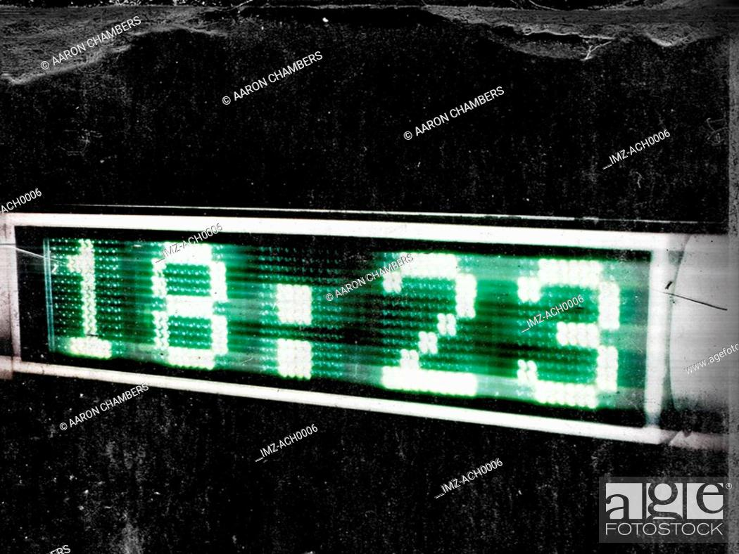 Stock Photo: A countdown screen with the time shown in green.