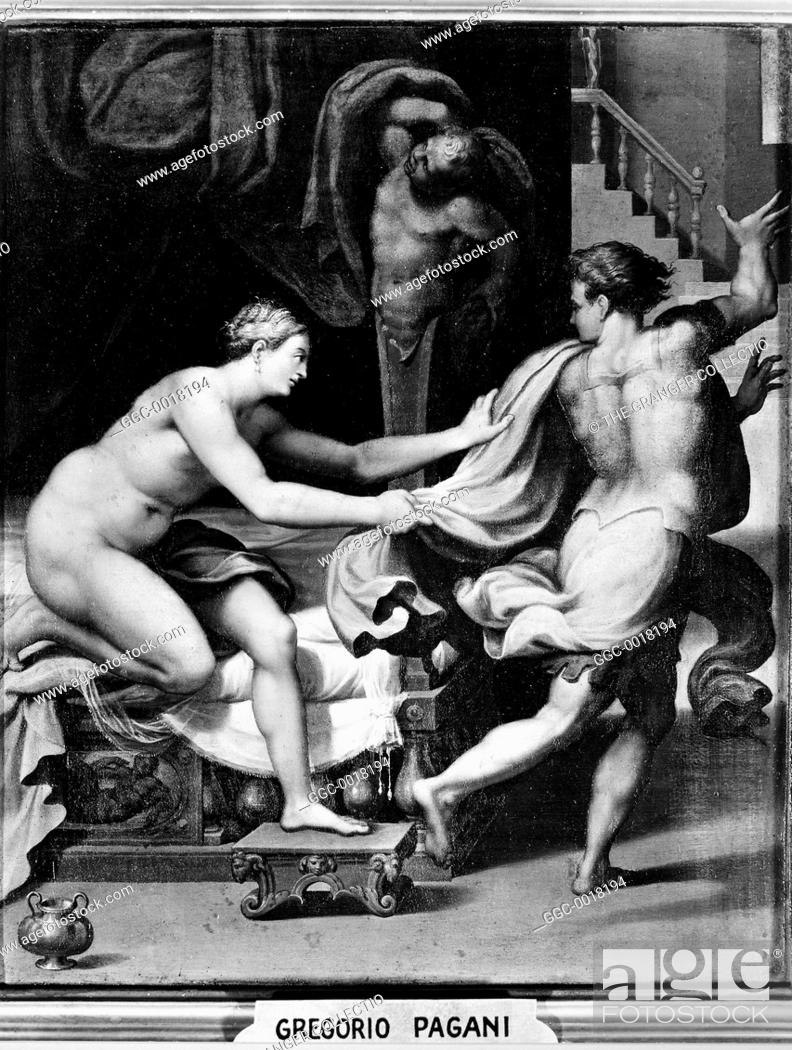 Stock Photo: JOSEPH & POTIPHAR'S WIFE.Oil painting by Gregorio Pagani (1568-1605).