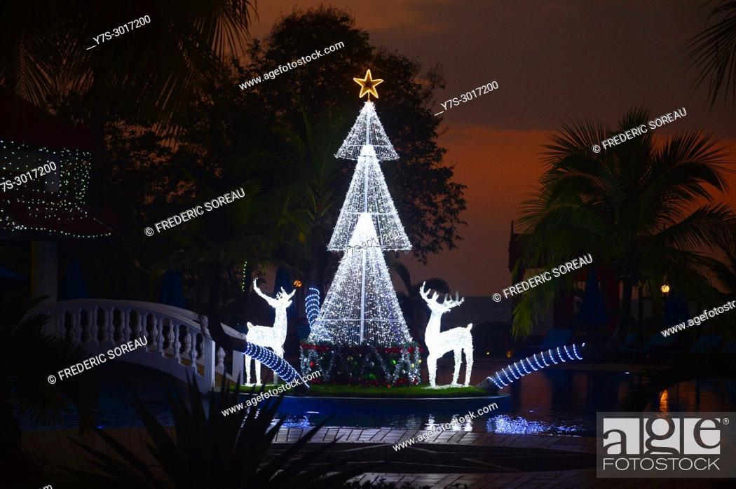 Stock Photo: Christmas lighting at Sokha beach resort, Sihanoukville, Cambodia, South East Asia, Asia.