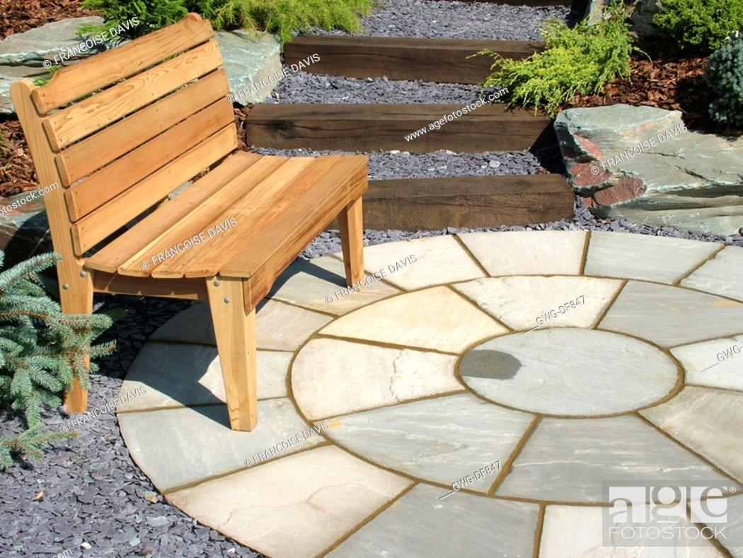 Surprising Seating Area Circular Patio With Wooden Bench Stock Photo Cjindustries Chair Design For Home Cjindustriesco