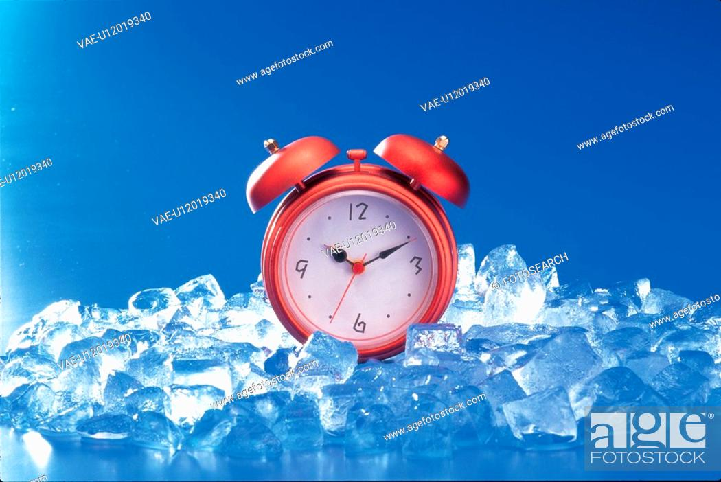 Stock Photo: house item, water, table clock, time, ice, nature.