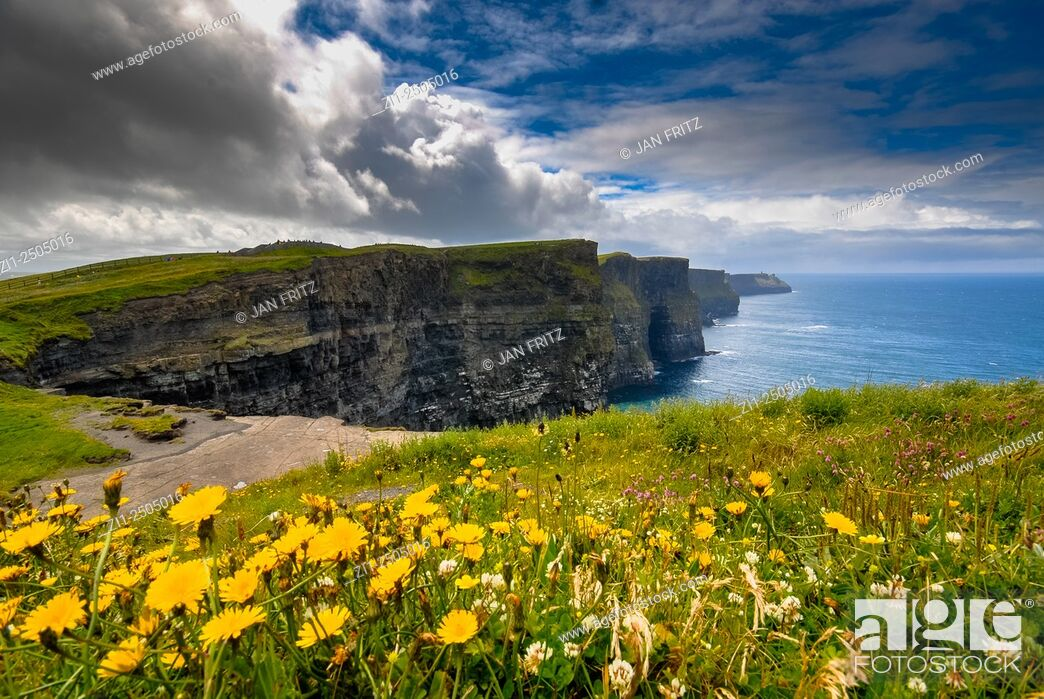 Stock Photo: view at cliffs of Moher, Ireland.