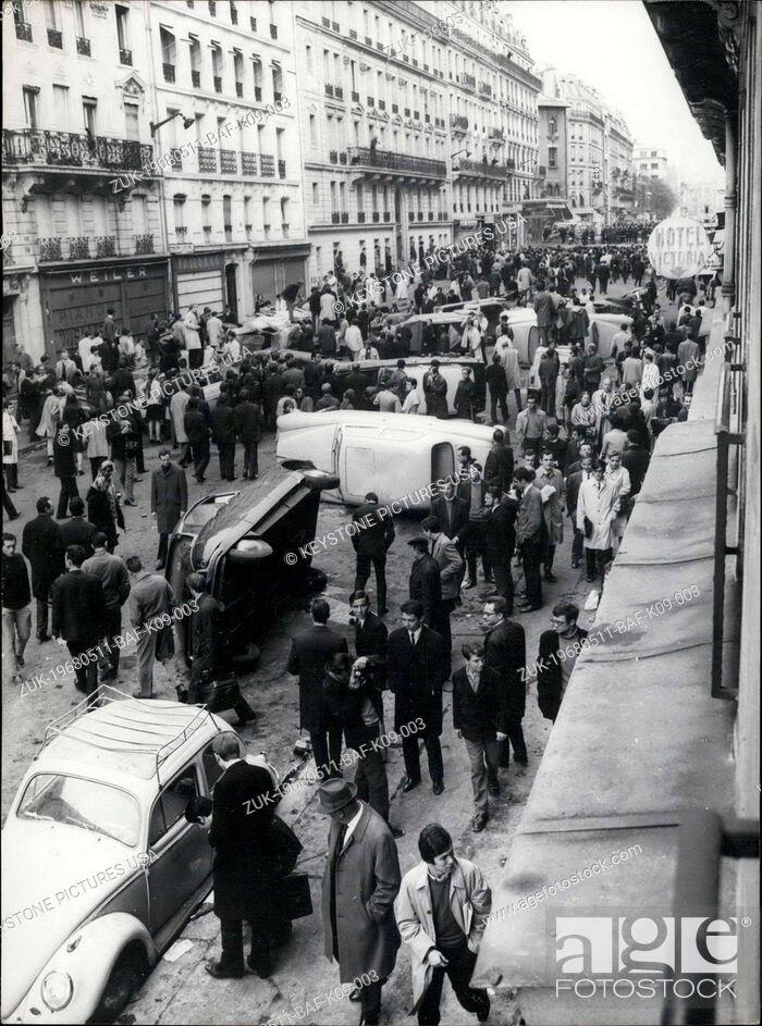Stock Photo: May 11, 1968 - Student Riot in Paris's Latin Quarter Leads to Overturned Cars (Credit Image: © Keystone Press Agency/Keystone USA via ZUMAPRESS.com).