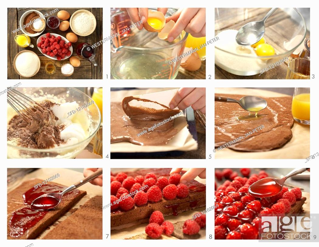 Stock Photo: How to make chocolate and raspberry slices.