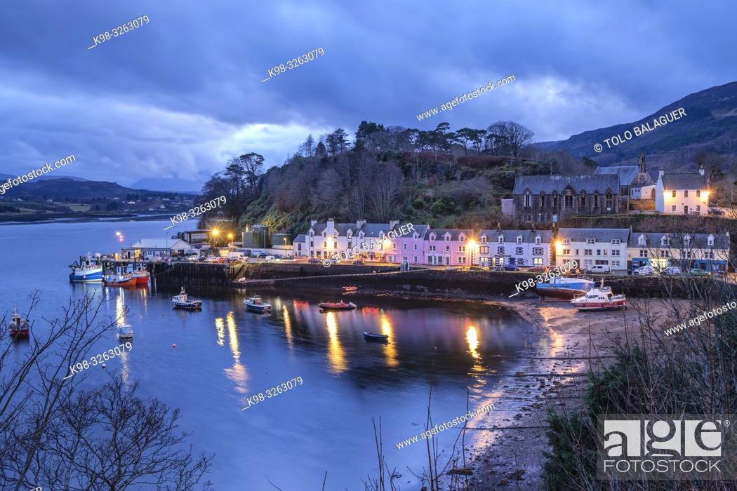 Stock Photo: Colorful houses on the pier, Portree (Port Rìgh), Isle of Skye, Highlands, Scotland, United Kingdom.