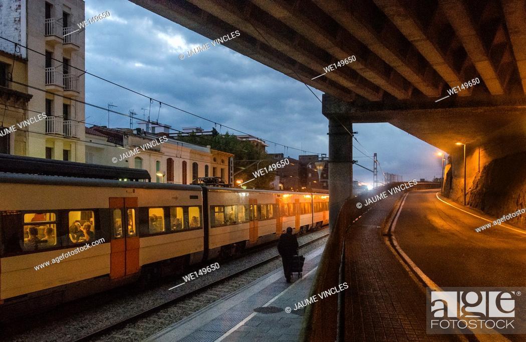 Stock Photo: Train station, Caldes d'Estrac, Maresme, Barcelona Province, Spain.