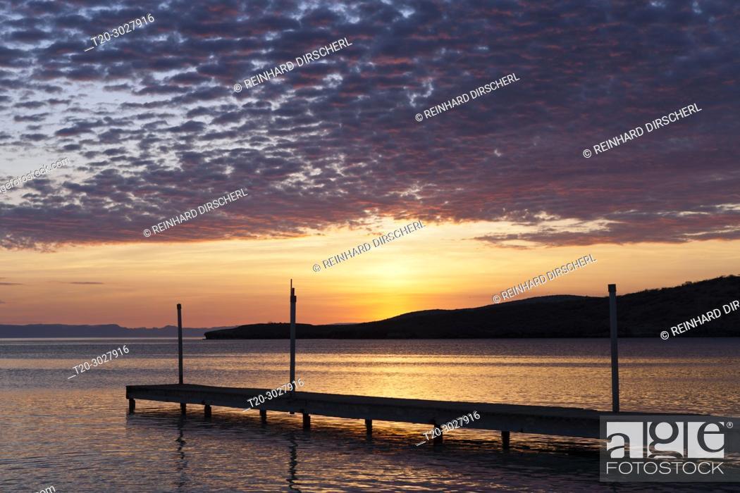 Stock Photo: Jetty and Sea at Sunset, La Paz, Baja California Sur, Mexico.