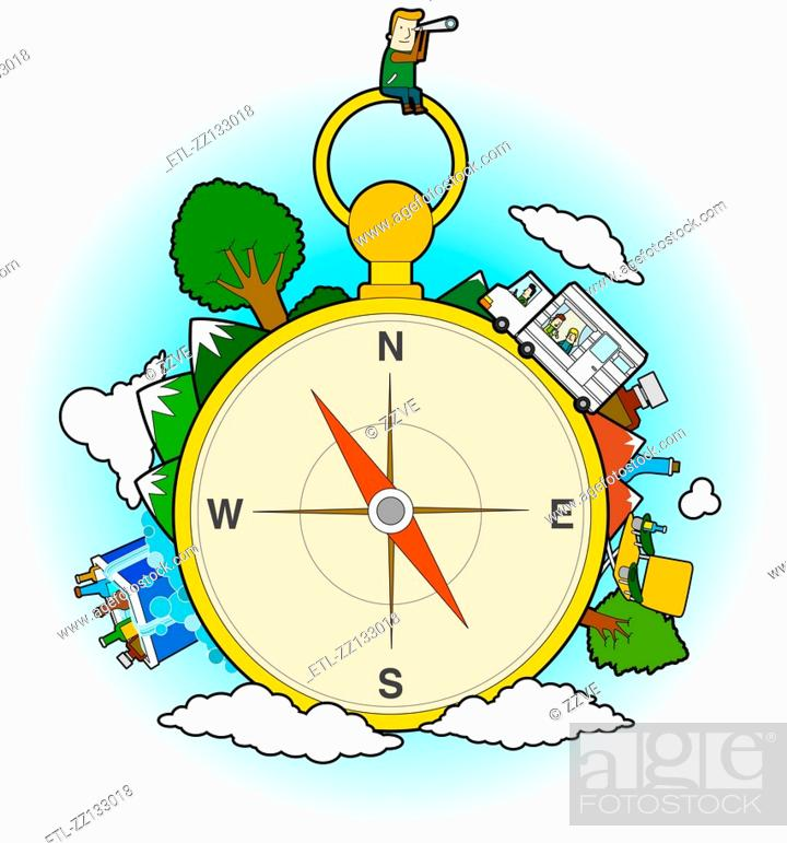 Stock Photo: Compass and travel.