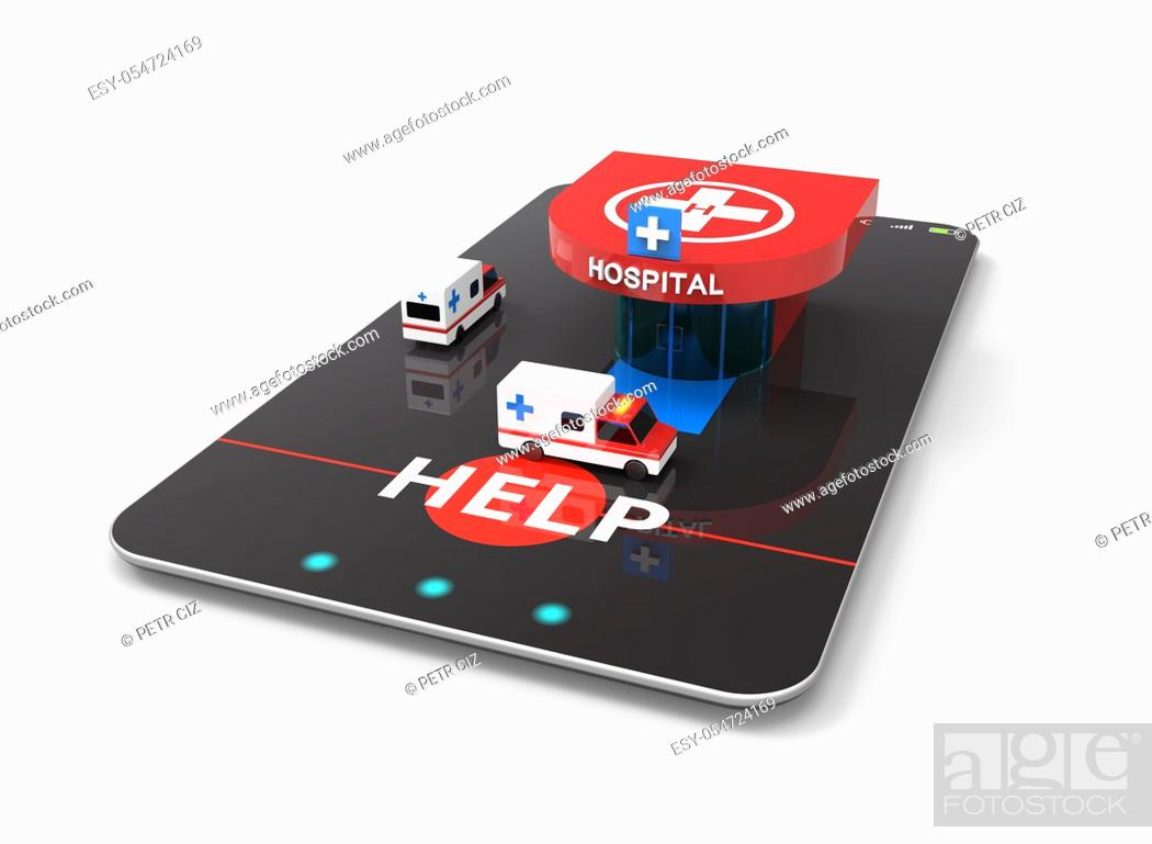Stock Photo: Hospital ambulance transport with heliport as smartphone concept.