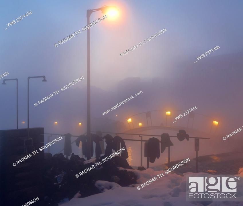 Foggy Winter Light At The Blue Lagoon Iceland Stock Photo