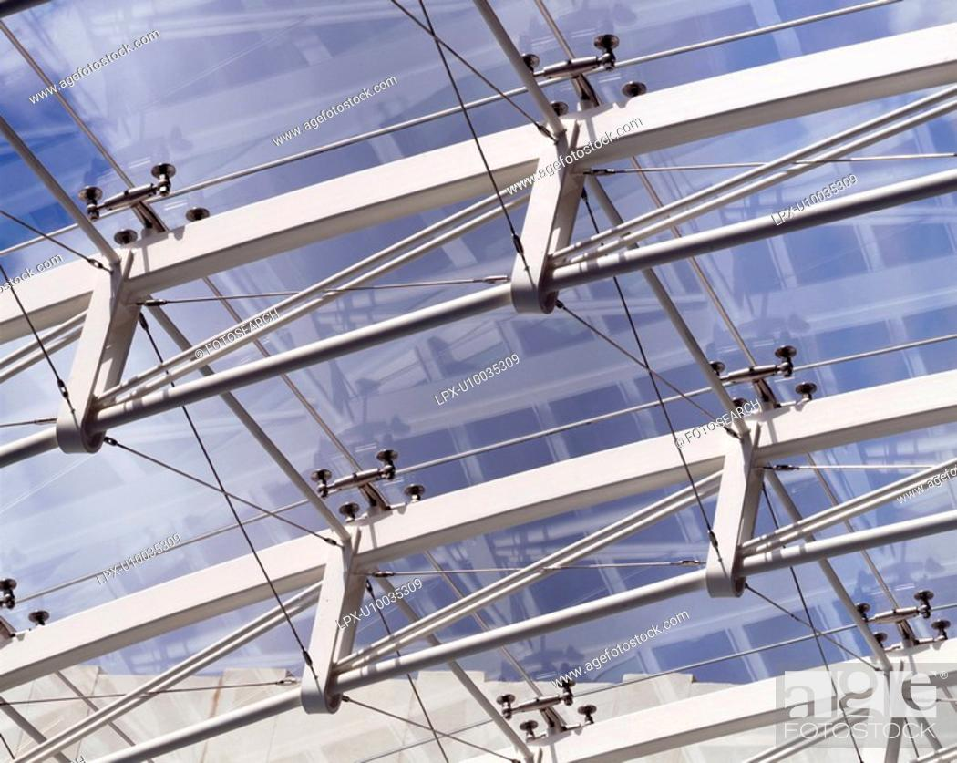 Stock Photo: Detail of modern glass canopy.