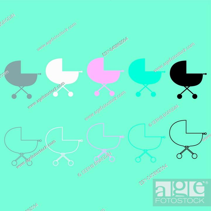 Vector: Baby carriage differet colour icon set.