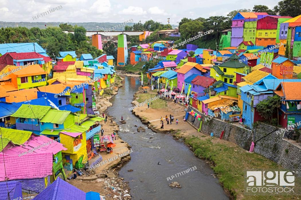 Colourful Houses At The Slum Kampung Wisata Jodipan Artist Suburb Of The City Malang Stock Photo Picture And Rights Managed Image Pic Plp 171116p133 Agefotostock