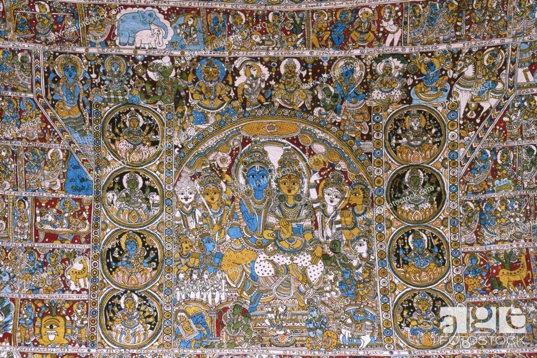 Kalamkari paintings Ramayana story, Stock Photo, Picture And