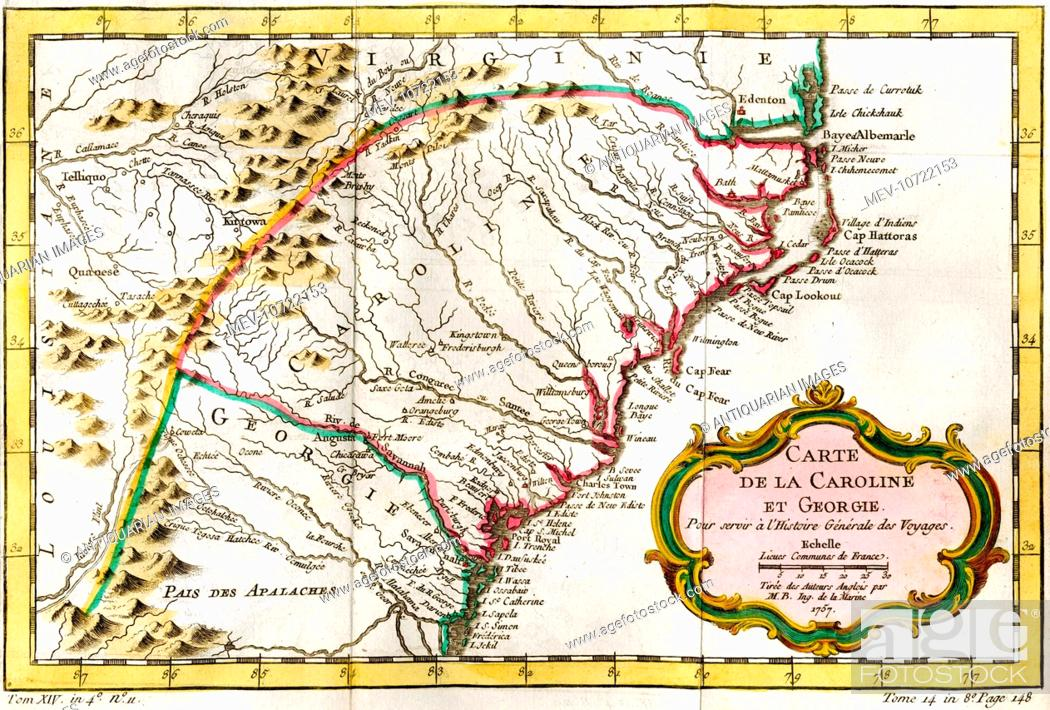 Map Of America Georgia.18th Century Map Of Carolina And Georgia America Stock Photo