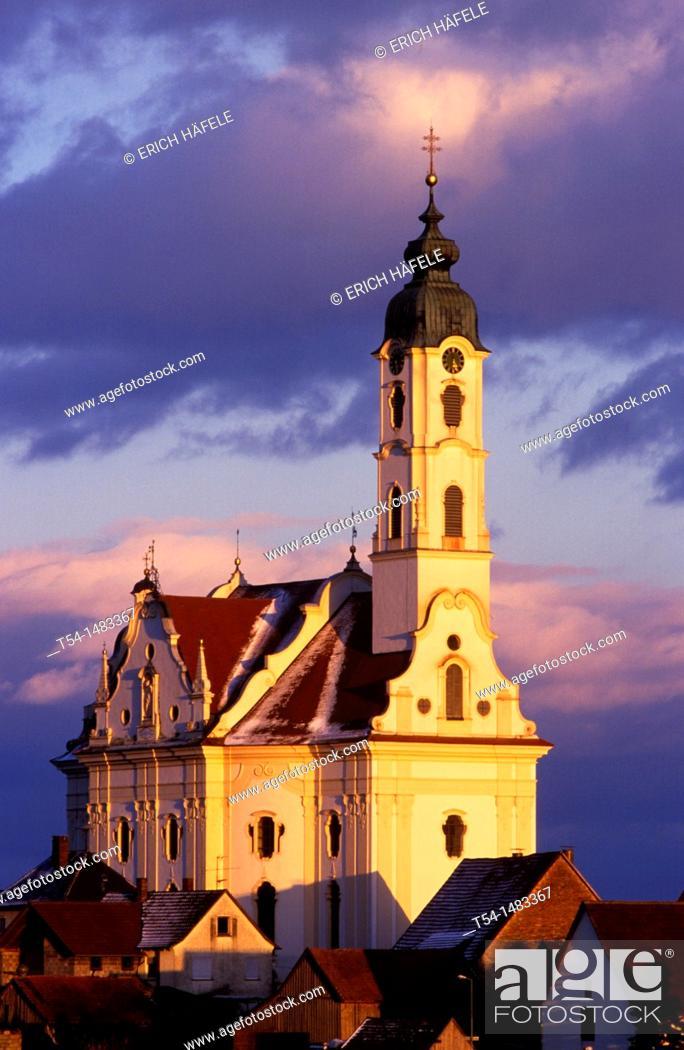 Stock Photo: Most beautiful village church in the world in Steinhausen / Upper Swabia.